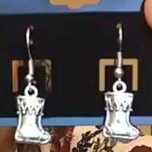 Silver Christmas Stocking Earrings